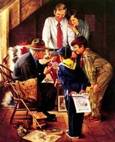 Scouting - Don't know who the artist is but it has the look and feel of a Norman Rockwell.  Love it!