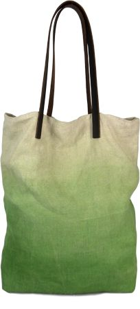 Margarete Häusler tote bag made from linen with colour gradient. Brown leather handles, linen lining and removable leather purse with zip. Handpainted with eco-textile colours based on mineral pigments Material: 100%Linen/Leather