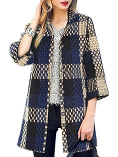 Vintage Plaid Button Woolen Coat via LA SAVVEON. Click on the image to see more!