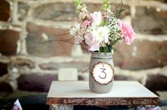 mason jar table decor - One Pint Size Shabby Chic Painted and Distressed by BeachBlues