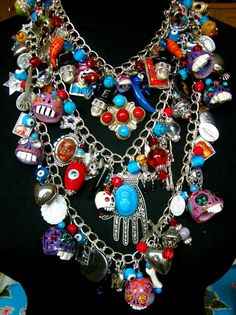 Frida Kahlo Day of The Dead Charm Necklace by Leandra Holder on Etsy - can be worn as 3 separate necklaces too