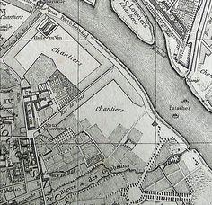 Carte de Paris Vaugondy-1760 - Jardin des plantes - Abbaye Saint-Victor - Halle aux vins de Paris - Quai Saint-Bernard