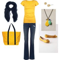 Love this happy outfit!  Jeans, Tshirt, and flats. Perfect for everyday!