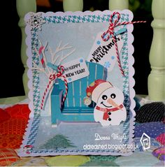 Donna Wright using the Pop it Ups Adirondack Chair, Chilly the Penguin, Props 5, All Seasons Tree, clear stamps and more by Karen Burniston for Elizabeth Craft Designs.