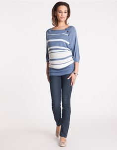 Blue & Ivory Striped Bamboo Maternity & Nursing Jumper profile