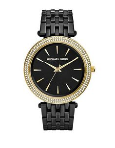 Michael Kors Ladies Darci Goldtone and Black Watch Women's Black