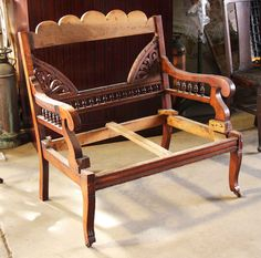Antique wooden Eastlake frames for a side chair and settee. Only thing needed is upholstered seating. Solid construction in excellent overall condition. Priced as a pair. Aesthetic Movement, Settee, Side Chairs, Sofas, Frames, Construction, Good Things, Antiques, Furniture