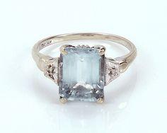 14K Vintage Aqua Marine Ring call 2392234972 to purchase- Kimberly