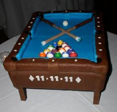 Pool table cake to resemble bride and grooms Diamond pool table (hence the blue green).