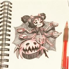 Another one! Muffet and her pet from #undertale . I usually don't like spiders but she is so cute #inktober #inktober2016