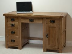 Rustic Computer Desk in Solid Oak Rustic Computer Desk, Computer Desks For Home, Computer Desk With Hutch, Pc Desk, Rustic Desk, Home Desk, Home Office Furniture, Furniture Making, Oak Furniture Land