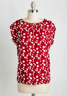 The Good, the Fab, the Bubbly Top. Perk the room with your peppy persona and this equally energizing dotted top! #red #modcloth