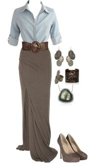 Fashion- brown skirt, brown belt, jean shirt, silver earrings, bronze bracelet, green necklace, brown shoes