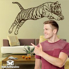 Tiger that lives in India, Nepal, Burma and Tibet. It is the most numerous and well-known subspecies of tiger Wall Stickers Animals, Decoration Stickers, Bengal Tiger, Tibet, Nepal, Animal Print Rug, Tattoos, Decorative Stickers, Wall Stickers