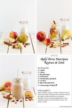 Weihnachts-Smoothie nach einer Inspiration von unserem X-Mas Event -- Smoothie Apfel, Birne, Marzipan, Zimt haseimglueck.de #Ernährung #Werte