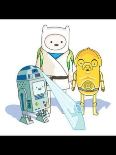 Adventure Time and Star Wars. The only way I would watch Star Wars. Adventure Time Crossover, Art Adventure Time, Marceline, Disney Pixar, My Little Kids, Humour Geek, Humor, Adveture Time, Desenhos Cartoon Network