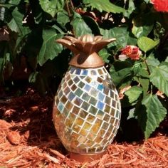 Smart Design Anasas 10 in. Glass Mosaic Pineapple with LED Timer Candle-83009 - The Home Depot