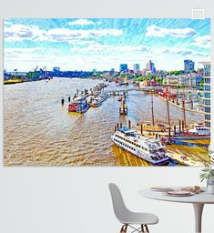 Blick über die Elbe und die Anlegestellen bei den Hamburger Stadtteilen Neustadt und St. Pauli, Deutschland St Pauli, Hamburger, Illustration, Pictures, Printing On Wood, Artist Canvas, Digital Art, Canvas Frame, Illustrations