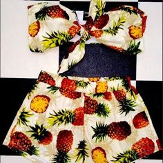 Piña brunch 2 piece set Still undecided on this beyond cute 2 piece brunch set. Can easily mix and match it. Top is double layered and shorts have an elastic waistband. o-mighty Tops