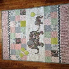 """""""Grandma's"""" Elephant quilt for my good friend Danette. This quilt stays at Grandma's house for when the baby comes to visit! Quilt pattern """"Mommy & Me"""" & material from Quilters' Paradise"""