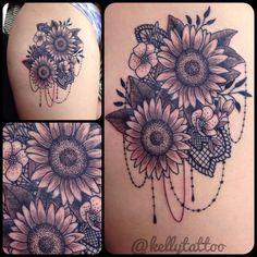 My sunflower & lace thigh tattoo from the talented @kellytattoo #sunflowers…