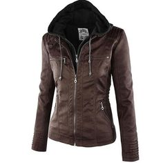 Find LINGMIN Women's Hooded Faux Leather Jackets Removable Hood Solid Slim Zip Up Moto Coat online. Shop the latest collection of LINGMIN Women's Hooded Faux Leather Jackets Removable Hood Solid Slim Zip Up Moto Coat from the popular stores - all in one Coats For Women, Jackets For Women, Lingerie Plus Size, Winter Stil, Mode Outfits, Faux Leather Jackets, Pu Leather, Hooded Jacket, Pu Jacket
