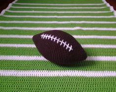 Touchdown! Football Field Afghan and Football Set Play Mat Crocheted Stuffed Football