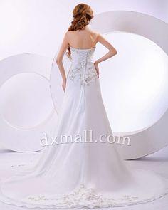 Drop Waist Wedding Dresses Sweetheart Chapel Train Chiffon Satin White 010010700412