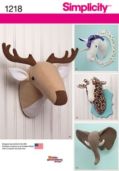 Visit the pattern department in store to browse our patterns available in store.Add these plush stuffed animal heads to any room for a fun decoration. Pattern includes trophy elephant, deer, giraffe a