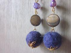 Alpaca fiber, shell & pearl with gold metal www.etsy.wellcriated.com