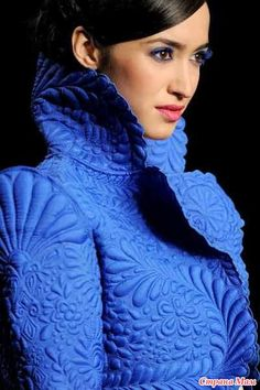 Trapunto :: Embossing your textiles can be quite elegant. I guess it recuires some skill though. Designed by Pankaj & Nidhi Blue Fashion, Look Fashion, India Fashion, Vetements Clothing, Bleu Turquoise, Cobalt Blue, Fashion Details, Fashion Design, Fabric Manipulation