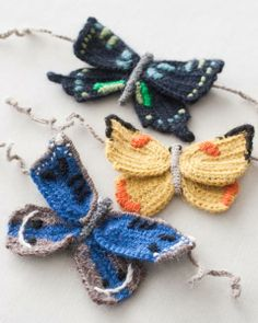 knitted butterflies