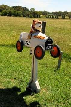 Stuffed bear in soapbox derby car - US mailbox :-)