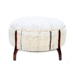 Large Round Ottoman upholstered in vintage hand woven hemp Rug (Linen). Brand new wooden stool frame with 4 legs, stool is padded for extra comfort. Transforming traditional textiles into modern collectible furniture. Would be perfect way to add some color to a room. Details ■ Dimensions: 28Diameter×17H ■ Material: 60s-70s Vintage Wool,Stitching and Wood parts are brand new ■ Color: White ■ Photo may slightly different from actual Item in terms of color due to the lighting during photo…