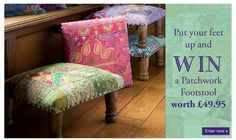 Love these patchwork footstools, made from upcycled saris.... fairtrade!