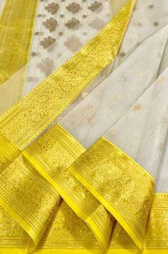 Buy online Off White Handloom Chanderi Pure Katan Silk Saree Online.Shop more Handloom Chanderi Saree at Luxurionworld. Kora Silk Sarees, Silk Saree Kanchipuram, Indian Silk Sarees, Tussar Silk Saree, Yellow Saree Silk, Elegant Saree, Silk Sarees Online, Beautiful Saree, Beautiful Dresses