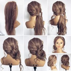 Hairstyles for Bridesmaids - Step by Step - Skincare Villa Prom Hairstyles Updos For Long Hair, Diy Hair Updos, Hairdo For Long Hair, Simple Wedding Hairstyles, Braided Hairstyles Updo, Diy Wedding Updos For Long Hair, Diy Hairstyles, Step By Step Hairstyles, School Hairstyles
