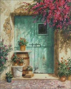 Old Doors, Belle Photo, Painting Inspiration, Watercolor Paintings, Watercolour, Windows, Landscape, Drawings, Illustration