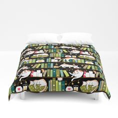 Buy Library cats Duvet Cover by elenanaylor. Worldwide shipping available at Society6.com. Just one of millions of high quality products available.