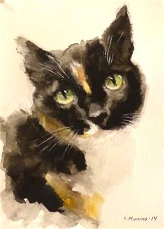 "Daily Paintworks - ""Molly""  © Katya Minkina #CatWatercolor"