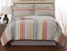 Retro Stripe Pastel Quilt Teen Bedding -  A classic look in a traditional bedding option, you will find this versatile quilt right at home in any bedroom in the house, especially a teen girl's room or a guest bedroom. #casual #retro #teenbedding #quilt #stripes