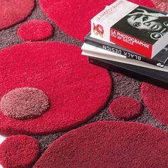 Tapis laine tufté main rouge vitalize ligne pure 140x200 - Tapis Cosy