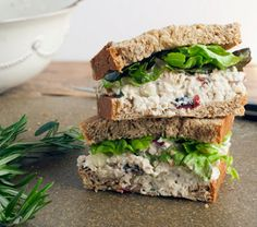 Cranberry Pecan Rosemary Chicken Salad Sandwich - This is such a great recipe! I usually eat it on it's own - but delicious as a sandwich. Pecan Chicken Salads, Chicken Recipes, Cranberry Chicken, Apple Chicken, Cranberry Salad, Healthy Chicken, Salad Chicken, Tuna Salad, Avocado Chicken