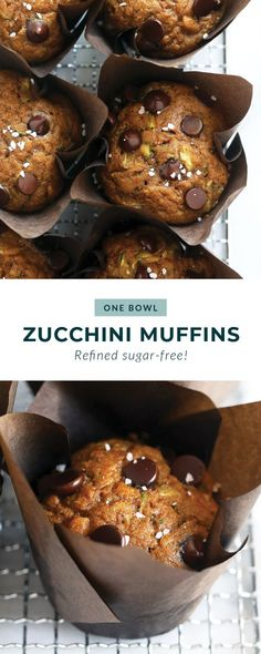 These easy zucchini muffins are made with just one bowl and in less than an hour! Add chocolate chips and sea salt to the top and you'll never want another healthy muffin recipe again.