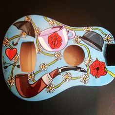 Ukulele - Ornament - Custom - English - Gentleman - Bowler Hat - Umbrella - Heart - Tea Cup - Pipe - Poppy - Daisy Chain - Rose - Home Decor - Homeware Ukulele Art, Guitar, Painted Ukulele, English Gentleman, Pretty Pictures, Bowler Hat, Daisy Chain, Tea Cup, Poppy
