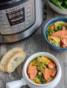 Instant Pot Recipe: Salmon and Tortellini Soup  #dishonfish #salmon #salmonrecipe #seafood #seafoodrecipe #instantpot #soup #yum #goodmoodfood #fallfood