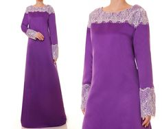 Bridal Satin Purple Abaya, Modest Evening Gown, Satin Gown, Long Sleeve Maxi…