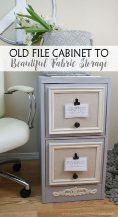 2 Drawer File Cabinet Makeover For Fabric Storage · Looking for a way to store all those pieces of fabric you've been collecting? Well it ends up a 2 drawer file cabinet might be the answer to your problems! Sewing Room Organization, Craft Room Storage, Fabric Storage, Storage Ideas, Craft Rooms, Organizing Ideas, Drawer Ideas, Organizing Paperwork, Bathroom Organization