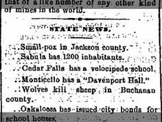 Cedar Falls has a velocipede school. Davenport Daily Gazette 7 Apr 1869, Wed p2