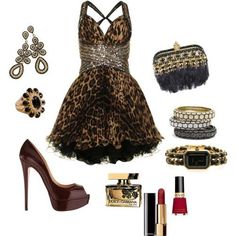 Leopard dress (Something about this dress I just love! Sexy Outfits, Dress Outfits, Fashion Dresses, Cute Outfits, Night Outfits, Stylish Outfits, Passion For Fashion, Love Fashion, Womens Fashion